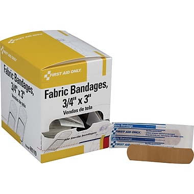 First Aid Only Adhesive Bandages, Fabric, 3/4in. x 3in., 100/box