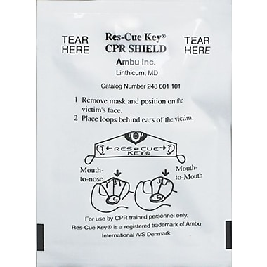 First Aid Only Ambu Res-cue Key, CPR Face Shield, One-Way Valve