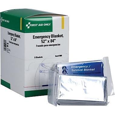 First Aid Only Emergency Blanket, 52in. x 84in., 5/box