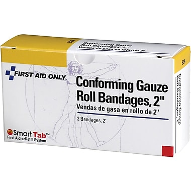 First Aid Only Conforming Gauze Roll Bandage, 2in., 2/box