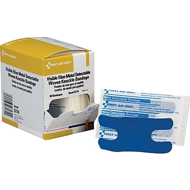 First Aid Only Adhesive Bandage, Blue Metal Detectable, Woven, 1-1/2in.-3in., 40/Box