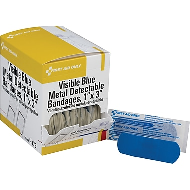 First Aid Only Adhesive Bandage, Blue Metal Detectable, Woven, 1in. x 3in., 100/box