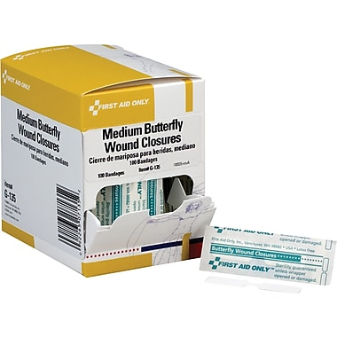 First Aid Only® Butterfly Wound Closure, Medium, 100/Box (G135)