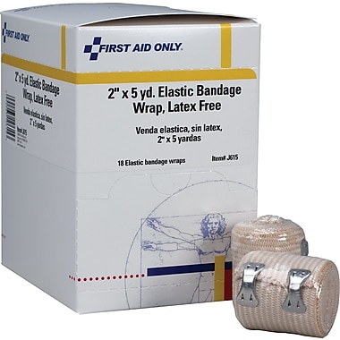 First Aid Only™ Elastic Bandage Wrap w/ 2 Fasteners, Latex-free, 2