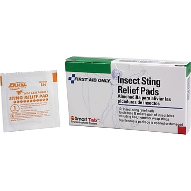 First Aid Only Insect Sting Relief Pads, 10/box