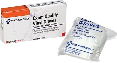First Aid Only Exam Quality Vinyl Gloves Large 4 box