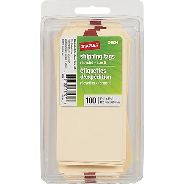 Staples® Plain Shipping Tags, 4-3/4