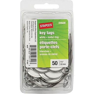 Staples® Key Tags with Metal Ring, 1-1/4