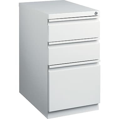 Staples 23in. Deep, 3-Drawer, Mobile Pedestal File, Light Gray