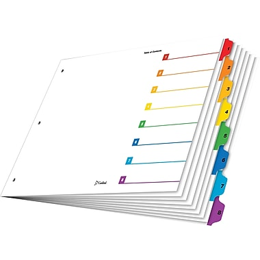 Cardinal® OneStep® Table of Contents & Dividers, 1-8, Multicolour Tabs, 8-Tab Set