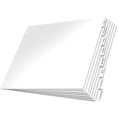 Cardinal® – Intercalaires insérables en papier, onglets incolores, ens./8 onglets