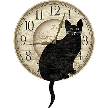 Infinity Instruments Wagging Cat MDF Open Face Novelty, Wall Clock