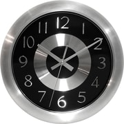 Infinity Instruments Mercury Black  Shiny Aluminum, Wall Clock w/ Silver Metal Hands