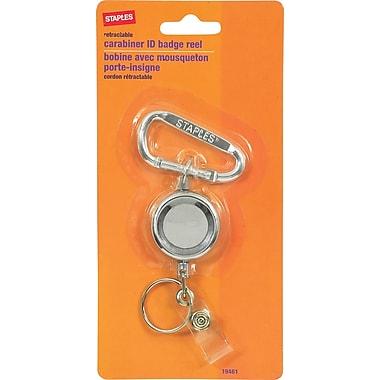 Staples KeyKlip-N-Pull Retractable Keyring, Silver, 24