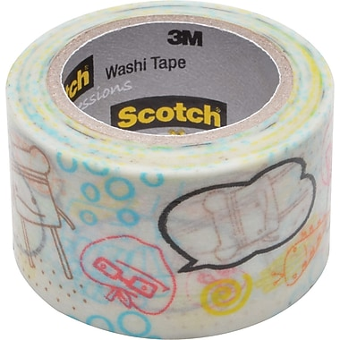 Scotch® Expressions Washi Tape, Character Bubbles Pattern, 1 3/16in. x 393in.