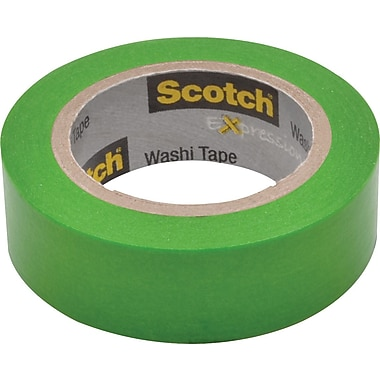 Scotch® Expressions Washi Tape, Green, 3/5in. x 393in.