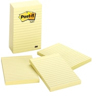 "Post-it® Notes, 4"" x 6"", Canary Yellow, Lined, 5 Pads/Pack (660-5PK)"