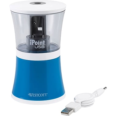 Westcott iPoint USB Pencil Sharpener, Blue