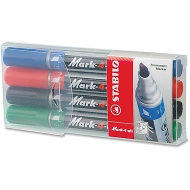 Stabilo® Mark-4-All Permanent Markers, Chisel Tip, 4/Pack
