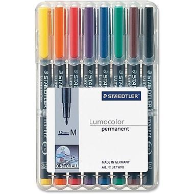 Staedtler® Lumocolour Permanent Markers, Medium Tip, 8/Pack