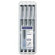 Staedtler® Pigment Fineliner Sketch Pens, Black, 4/Pack