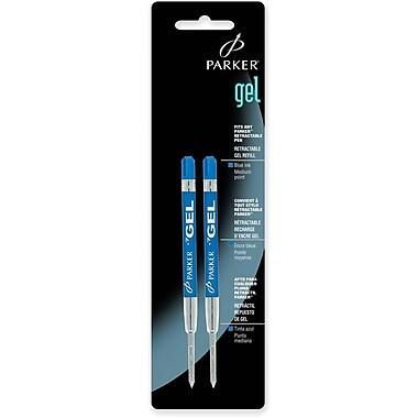 ParkerMD – Recharges d'encre gel Fit All pour stylos à bille ParkerMD, pointe moyenne de 1 mm, bleu, 2/paquet