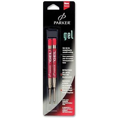 ParkerMD – Recharges d'encre gel Fit All pour stylos à bille ParkerMD, pointe moyenne de 1,0 mm, rouge, paquet de 2