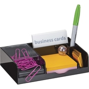 Officemate® VersaPlus Magnetic Clip Dispenser/Business Card Holder, Black/Clear, 5 Compartments