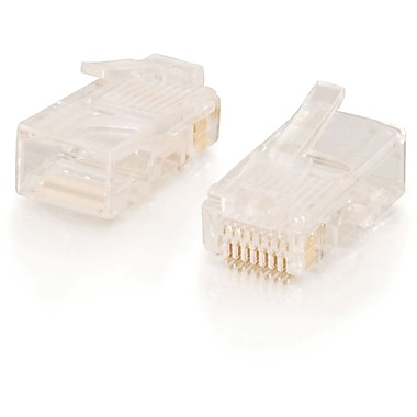 C2G RJ45 Cat5 8 x 8 Modular Plug for Round Stranded Cable, 50pk