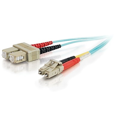 C2G 10 Gb LC/SC Duplex 50/125 Multimode Fiber Patch Cable, 3m/9.8' Aqua