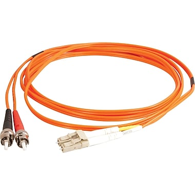 C2G LC/ST Duplex 50/125 Multimode Fiber Patch Cable, 1m/3.2', Orange