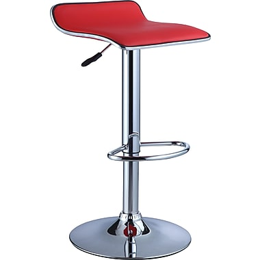 Powell® Faux Leather Bar Stool With PU And Chrome Finish, Red