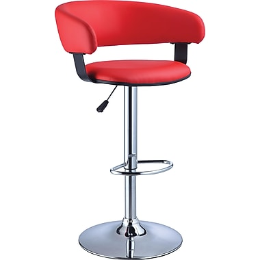 Powell® Faux Leather Bar Stool With PU Finish, Red