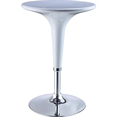 Powell® 23 5/8in. Round ABS Plastic/Metal Adjustable Height Bar Table, White/Chrome