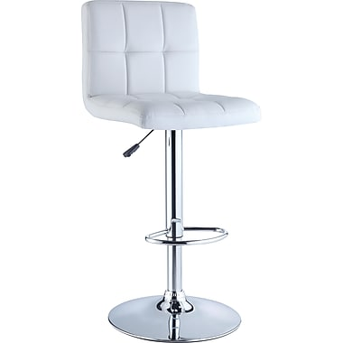 Powell® Quilted Faux Leather Bar Stool, White