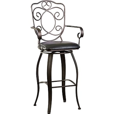 Powell® PVC/Bronze Scroll Back Bar Stool, Bronze/Copper, Dark Brown