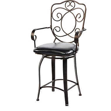 Powell® PVC/Bronze Scroll Back Counter Stool, Bronze/Copper, Dark Brown