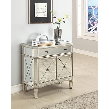 Powell® Mirrored Console With 1 Drawer, 2 Door, Gray