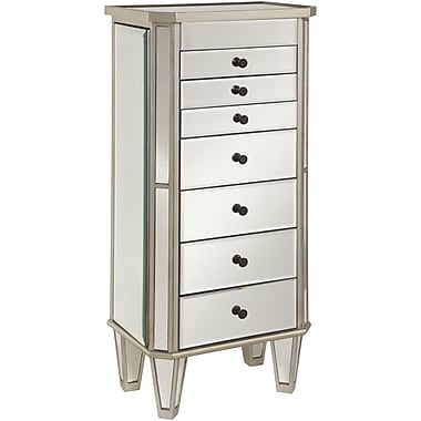 Powell® Wood Mirrored Jewelry Armoire, Silver