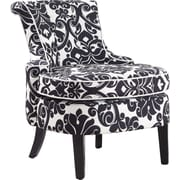 Powell® Daina Floral Chenille Wood/Fabric Swoop-Back Accent Chair, Black/White