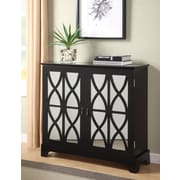 Powell® Console With Mirrored Glass Doors, Black
