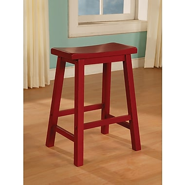 Powell® Wood Counter Stool, Crimson Red