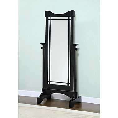 Powell® 60in. x 25 1/2in. x 16in. Solid Oak Veneer Framed Cheval Mirror, Mission Black