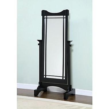 Powell® 60in. x 25 1/2in. x 16in. Solid Oak Veneer Framed Cheval Mirror, Mission Black