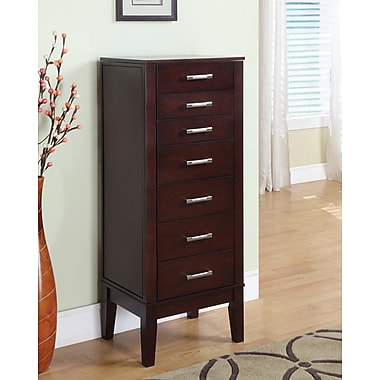 Powell® Solid Wood Contemporary Jewelry Armoire, Dark Espresso
