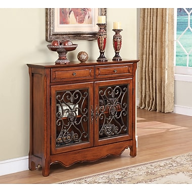 Powell® Scroll Console With 2 Drawer, 2 Door, Light Cherry