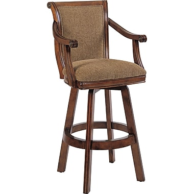 Powell® Brandon Cotton/Polyester Fabric Swivel Bar Stool, Warm Cherry