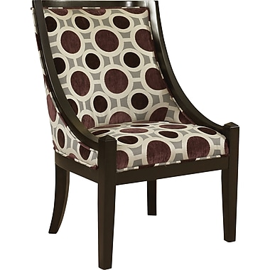 Powell® Wood/Fabric High Back Accent Chair, Mulberry/Gray