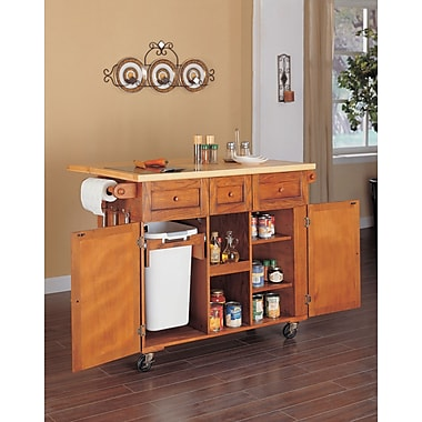 Powell® 3-Drawer Kitchen Butler, Medium Oak