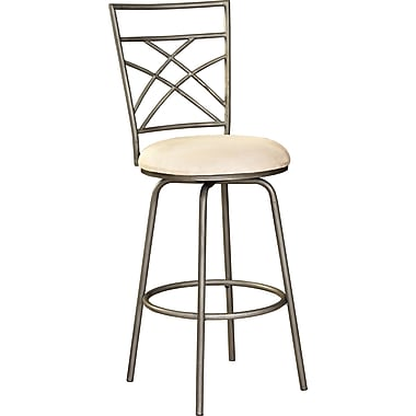 Powell® Fabric Swivel Bar Stool, Antique Gold/Pewter